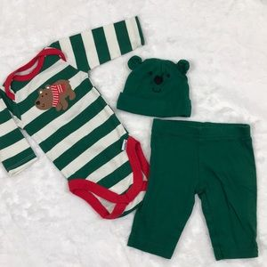 Christmas Bear Striped Onesie, Beanie and Pant Set